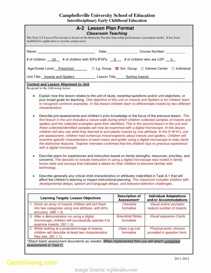 Edtpa Lesson Plan Template 2018 New Early Childhood Education Lesson Plans – Early Childhood
