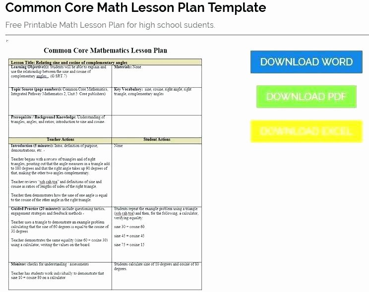 Edtpa Lesson Plan Template Ny Luxury Mon Core Math Lesson Plan Template Sample In Mon