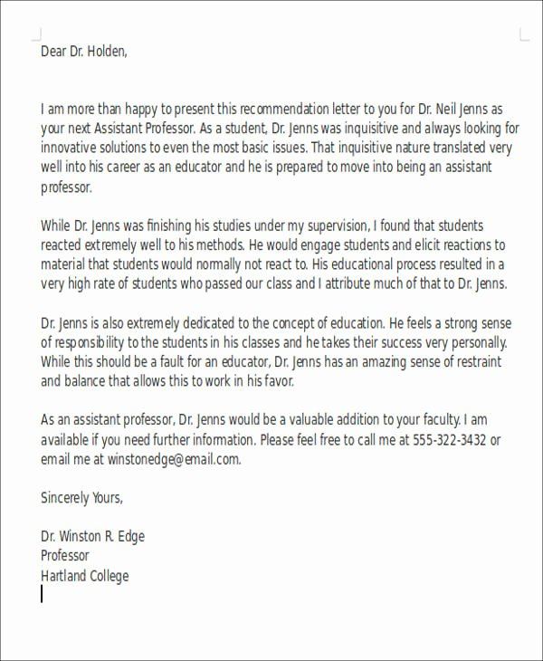 Education Letter Of Recommendation Inspirational 6 Sample Teaching Position Re Mendation Letter Free