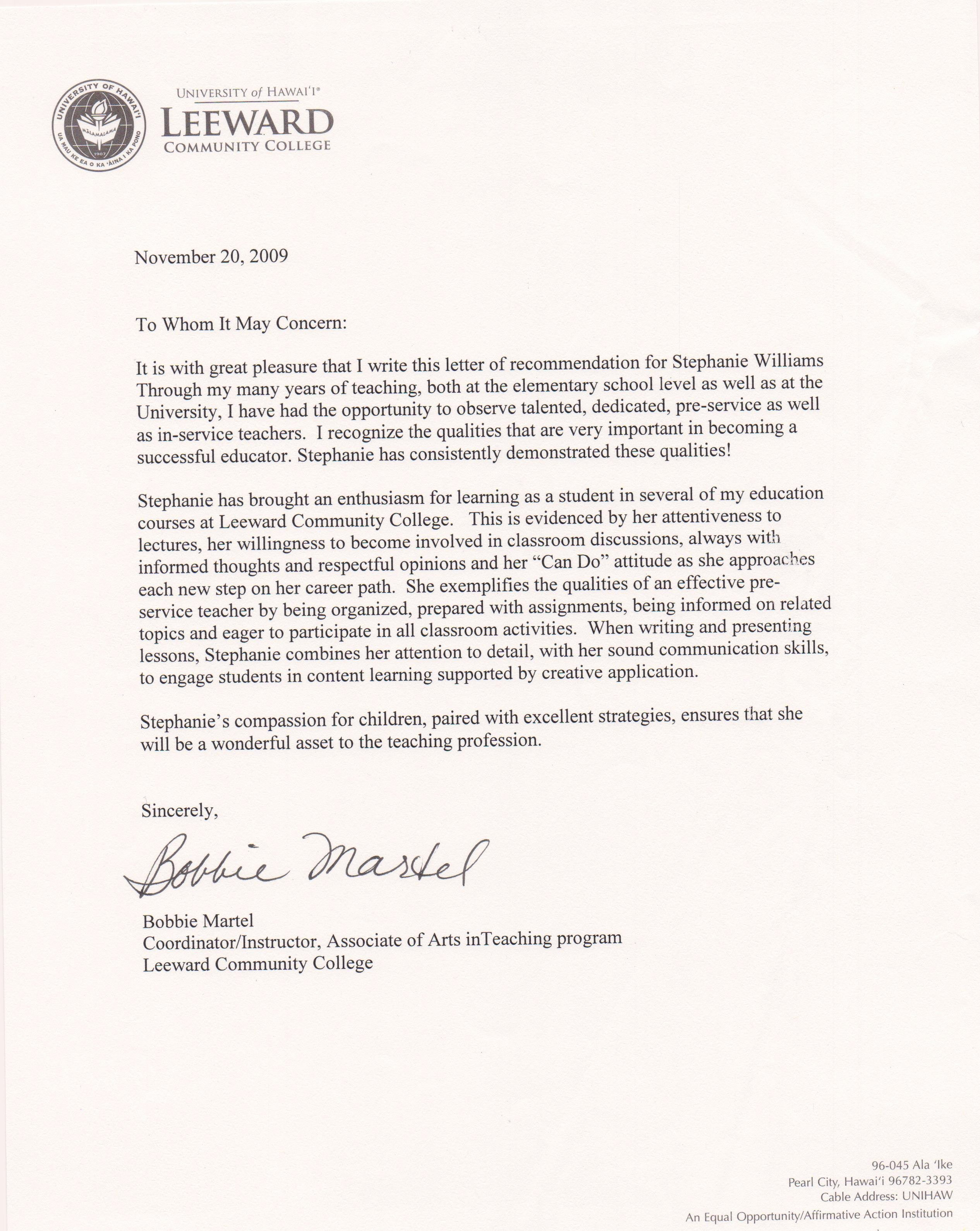 Education Letter Of Recommendation New Student Teaching Stephanie Williamsteaching Portfolio
