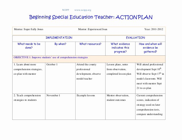 Educational Action Plan Template Fresh Action Plan