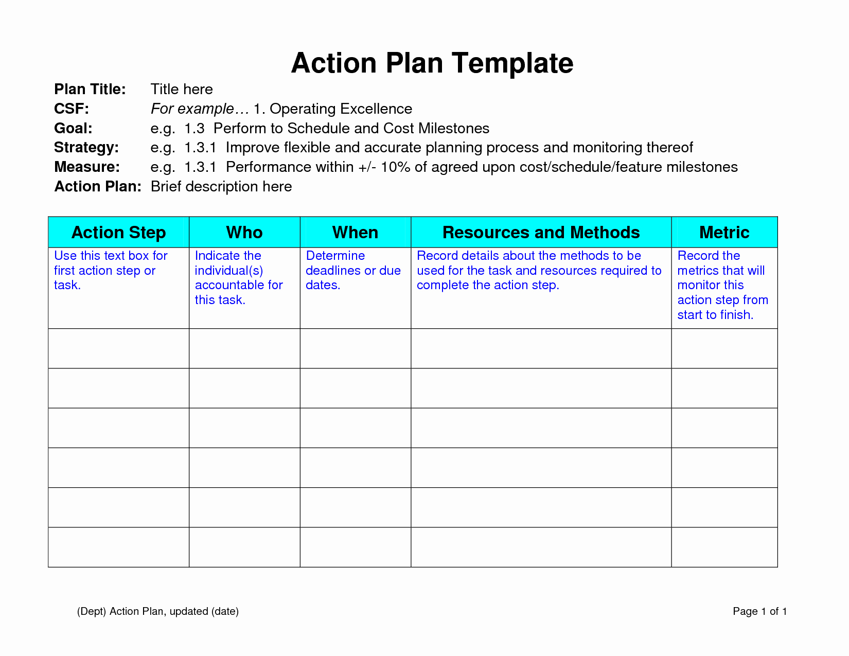 Educational Action Plan Template Fresh Team Action Plan Education Template Sample Helloalive