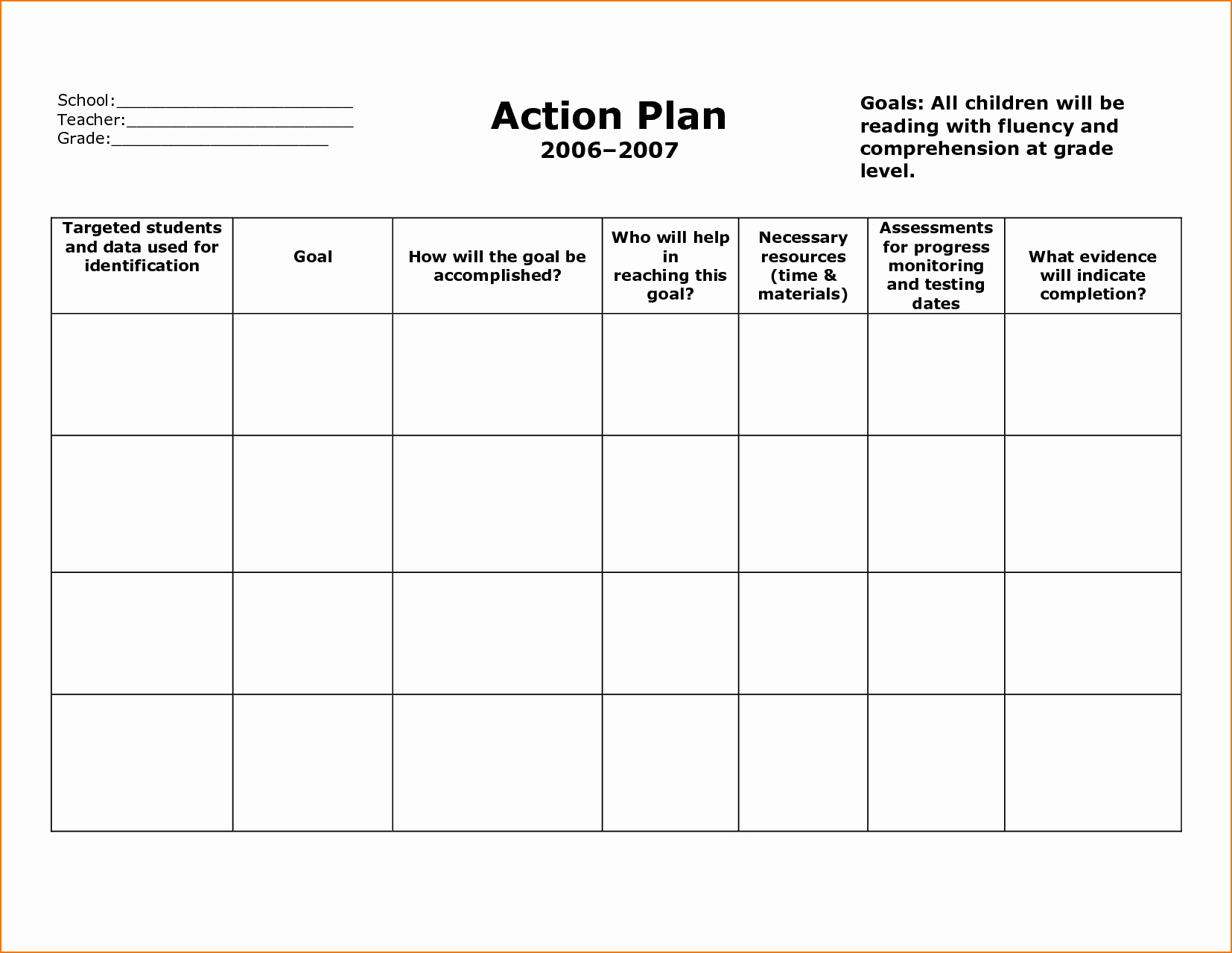 Educational Action Plan Template Inspirational 6 Sample Action Plan Template