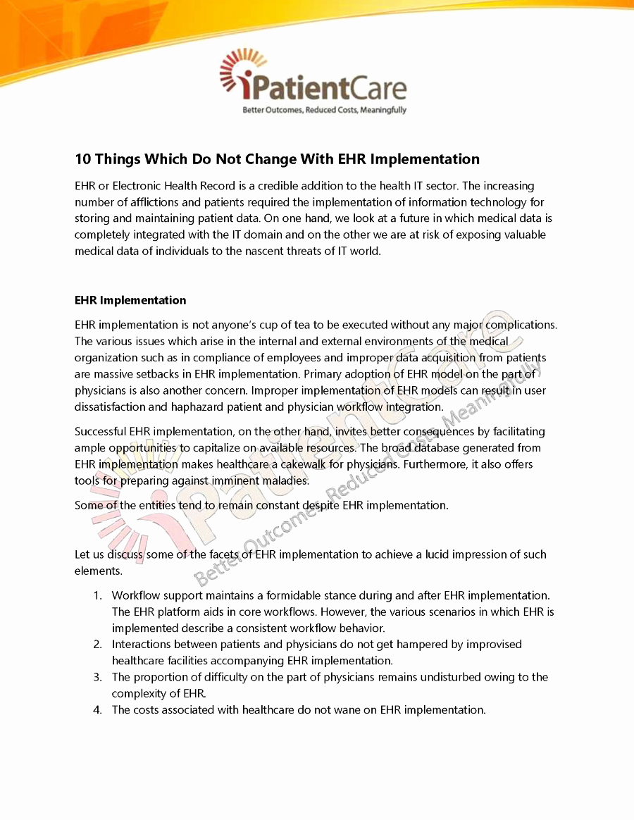 Ehr Implementation Plan Template Beautiful 10 Things which Do Not Change with Ehr Implementation
