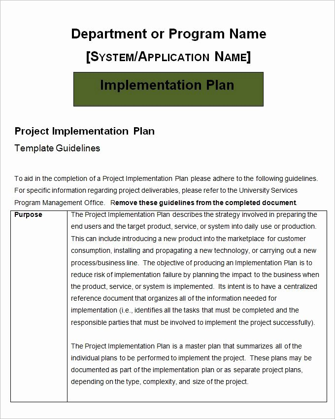 Ehr Implementation Plan Template Fresh Implementation Plan