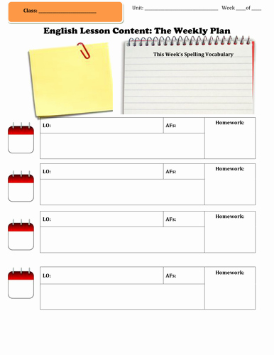 Ela Lesson Plan Template Beautiful English Weekly Lesson Plan Template by Emmaline85