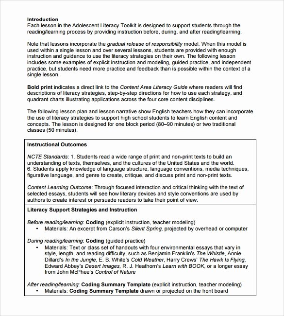 sample high school lesson plan template
