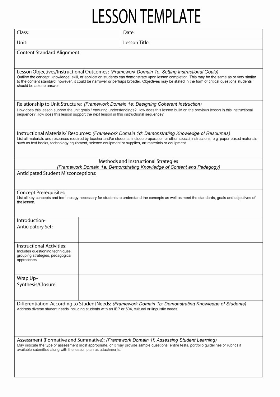Elementary Lesson Plan Template Lovely 44 Free Lesson Plan Templates [ Mon Core Preschool Weekly]