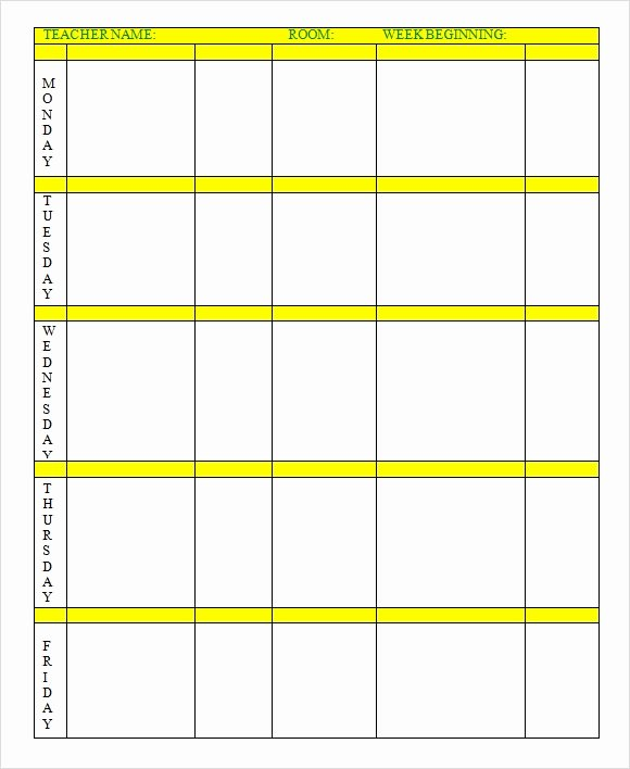 Elementary Lesson Plan Template Unique Weekly Lesson Plan 8 Free Download for Word Excel Pdf