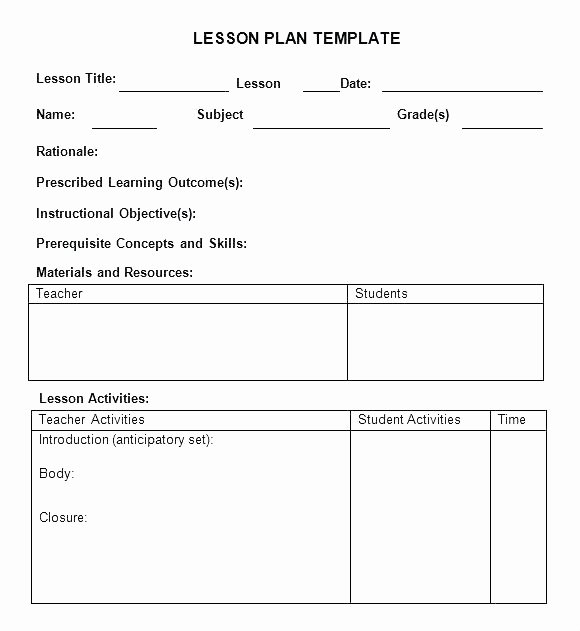 Elementary Lesson Plan Template Unique Weekly Lesson Plan Template