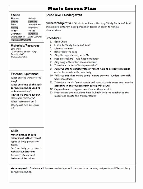 Elementary Music Lesson Plan Template Fresh Lesson Plan Template for Elementary School 1000 Images