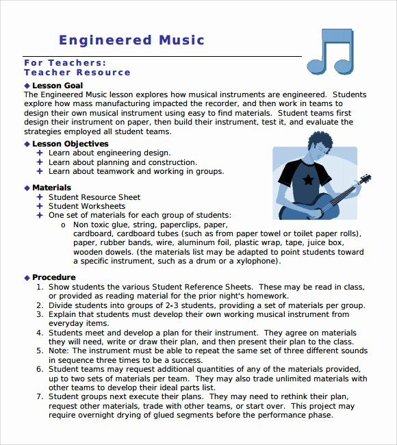 Elementary Music Lesson Plan Template Luxury 9 Music Lesson Plan Templates Download for Free