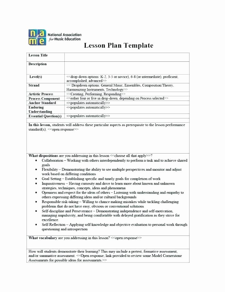 Elementary Music Lesson Plan Template Unique General Music Lesson Plan Template – Elementary General