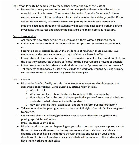 Elementary School Lesson Plan Template Elegant Sample Elementary Lesson Plan Template 8 Free Documents