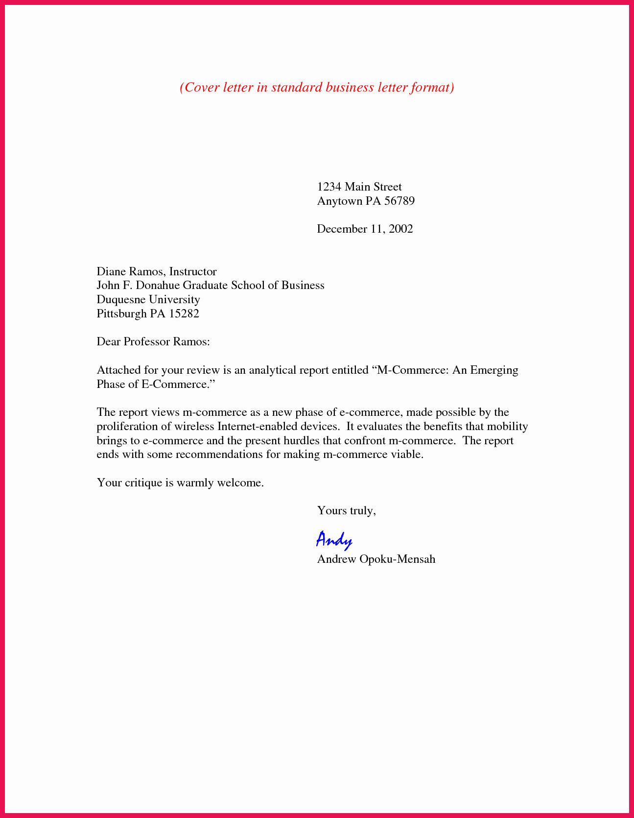 Emailed Cover Letter format Best Of Business Cover Letter format