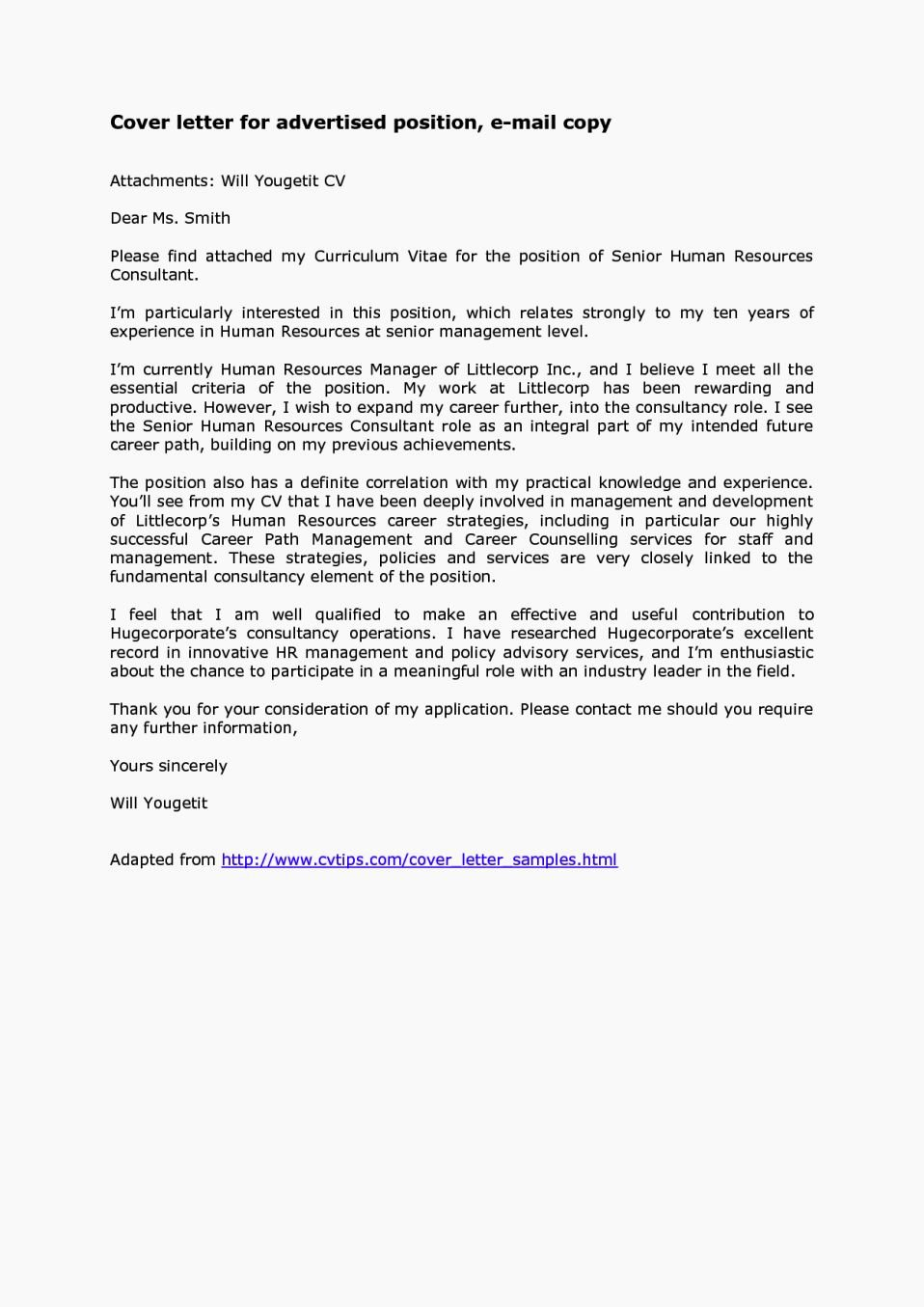 Emailed Cover Letter format Best Of Sample Email Message with attached Resume Talktomartyb
