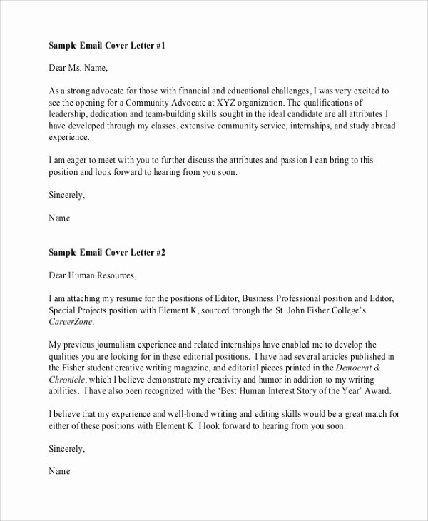 Emailed Cover Letter format Fresh Sample Resume Cover Letter format 6 Documents In Pdf Word