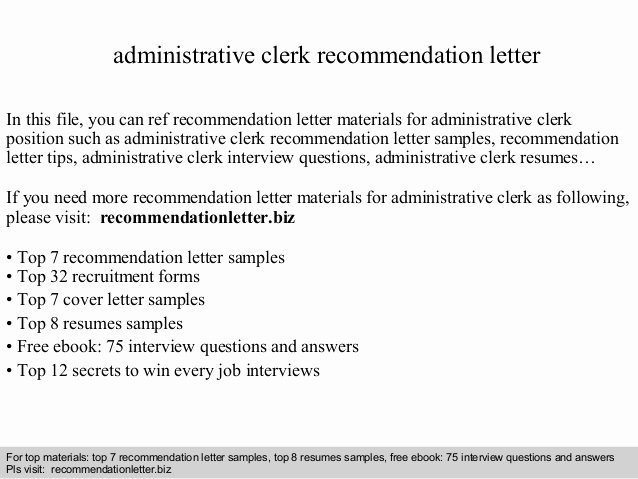 Embry Riddle Letter Of Recommendation Fresh Administrative Clerk Re Mendation Letter