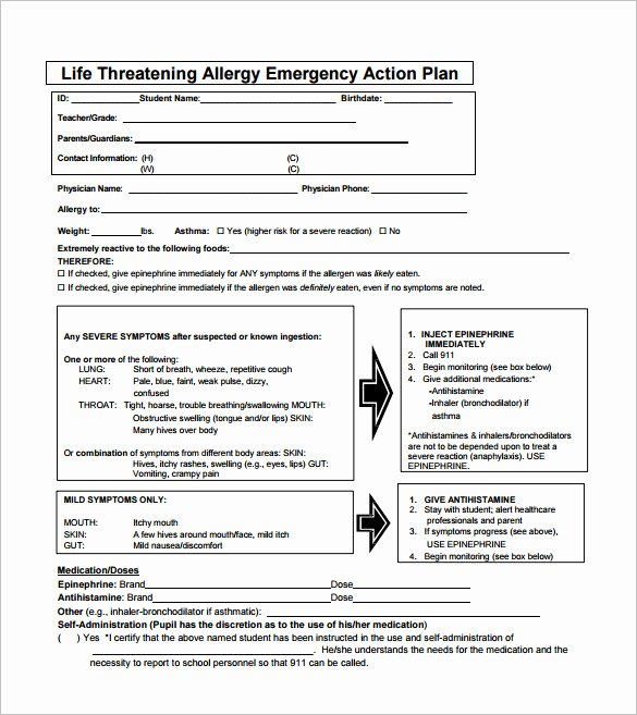 Emergency Action Plan Template Awesome 10 Allergy Action Plan Templates Doc Pdf