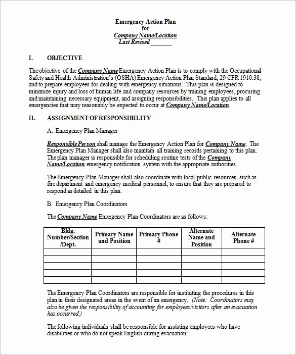 Emergency Action Plan Template Awesome Emergency Action Plan Template 8 Free Sample Example