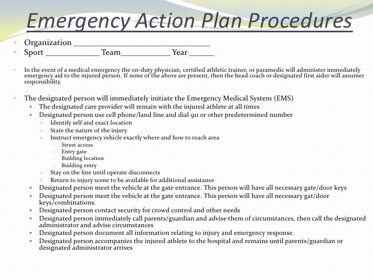 Emergency Action Plan Template Best Of Emergency Situations and Injury assessmentsp2010 Student