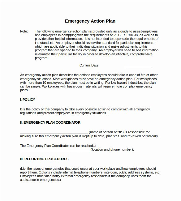 Emergency Action Plan Template Fresh 11 Sample Emergency Action Plan Templates