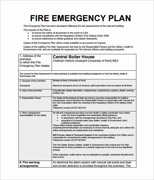 Emergency Action Plan Template Fresh Emergency Action Plan Template 8 Free Sample Example