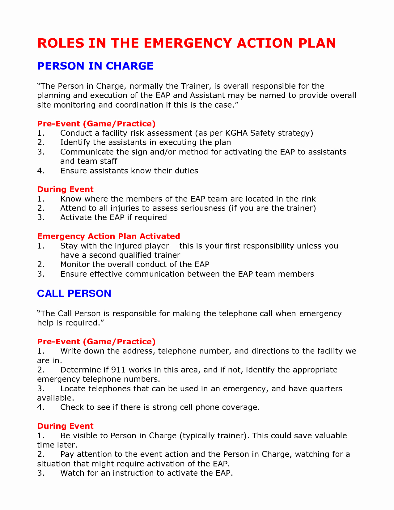 Emergency Action Plan Template Inspirational Emergency Action Plan Template