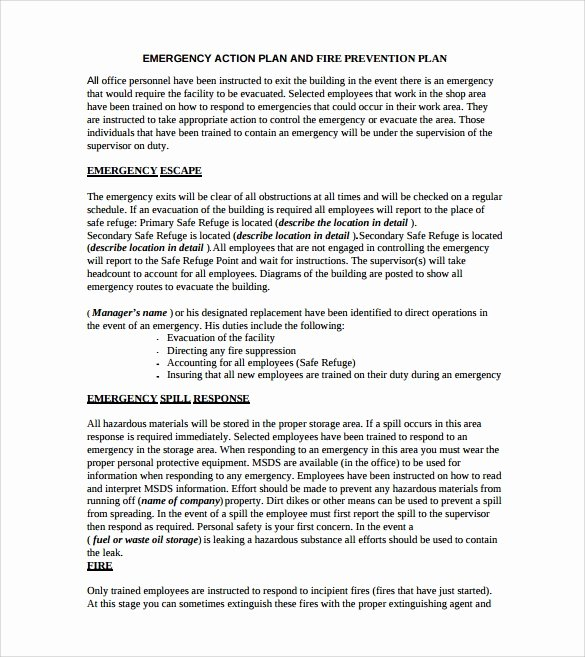 Emergency Action Plan Template Lovely Sample Emergency Action Plan Template 9 Documents In