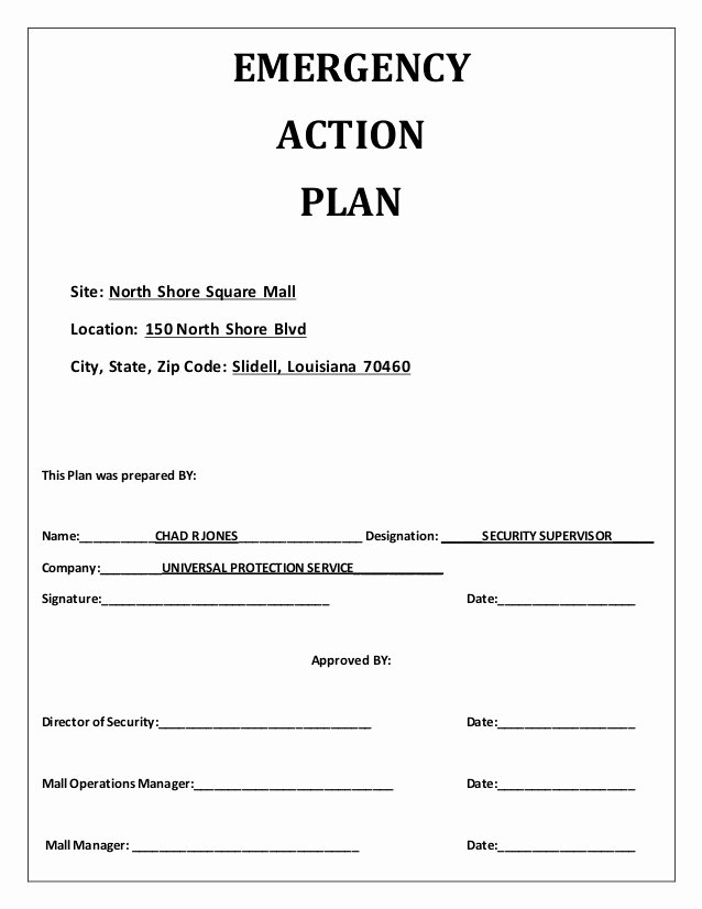Emergency Action Plan Template Luxury Emergency Action Plan