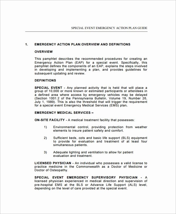 Emergency Action Plan Template New Sample Emergency Action Plan 11 Free Documents In Word Pdf