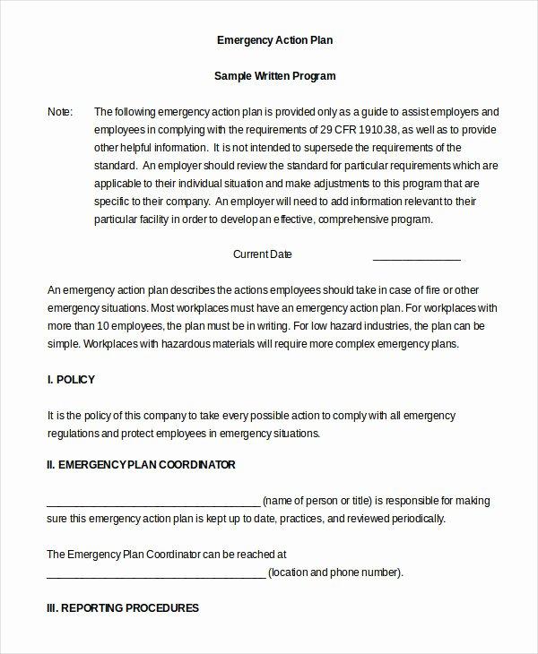 Emergency Action Plan Template Unique Emergency Action Plan Template 9 Free Sample Example