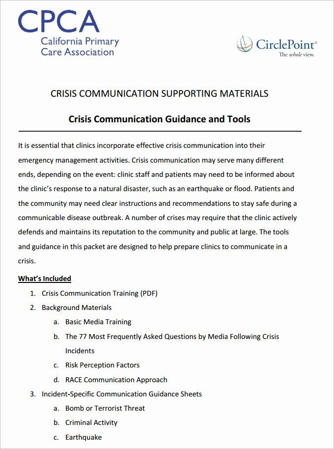 Emergency Communication Plan Template Fresh 3 Crisis Munication Plan Templates Doc Pdf