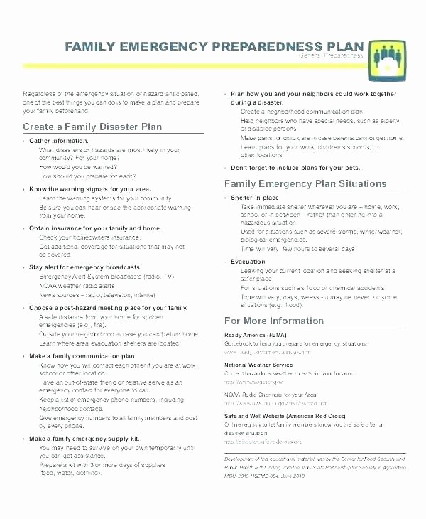 Emergency Communication Plan Template New Emergency Action Plan Examples