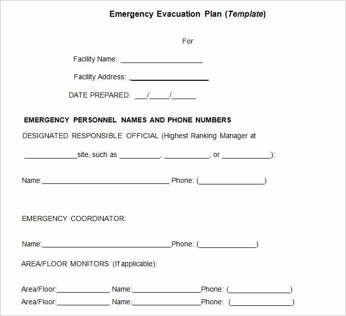 Emergency Evacuation Plan Template Fresh 3 Emergency Evacuation Plan Template Word Pdf Google