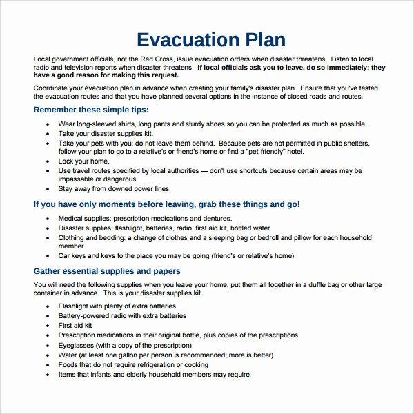 Emergency Evacuation Plan Template Luxury Sample Evacuation Plan Template 9 Free Documents In Pdf