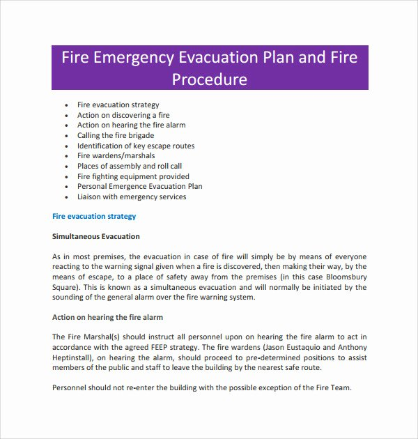 Emergency Evacuation Plan Template Unique 10 Evacuation Plan Templates