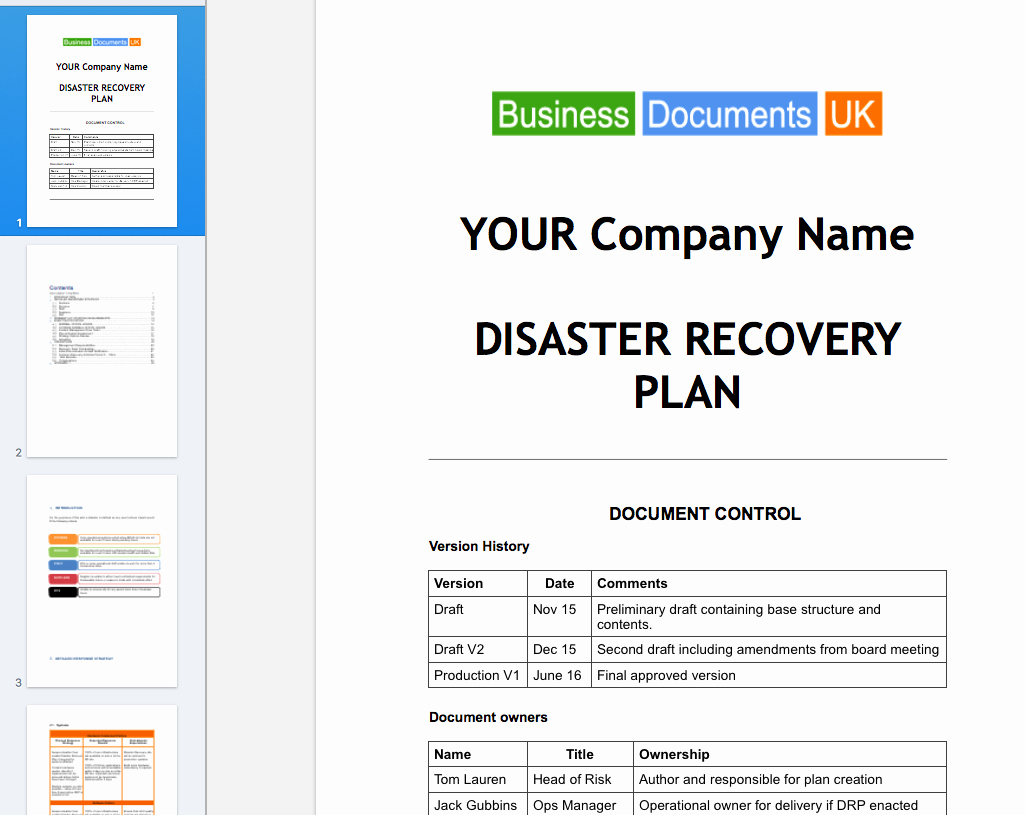 Emergency Management Plan Template Awesome Disaster Recovery Principal Plan Template