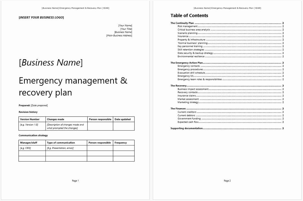 Emergency Management Plan Template Lovely Emergency Management Recovery Plan Template – Starters