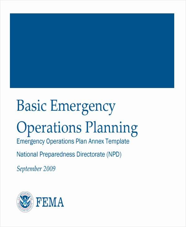 Emergency Operations Plan Template Beautiful 8 Emergency Operations Plan Templates Free Sample