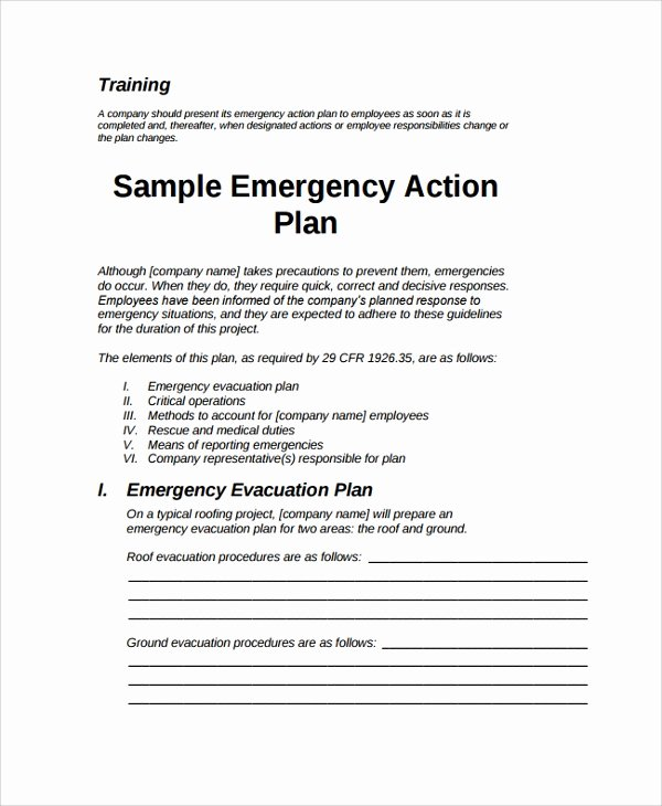 Emergency Operations Plan Template Best Of 7 Emergency Action Plan Samples Examples & Templates