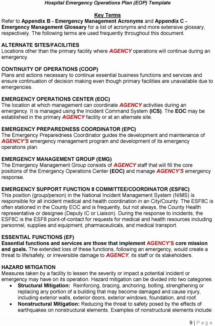 Emergency Operations Plan Template Best Of Sample Emergency Preparedness Plan Small Business Picture