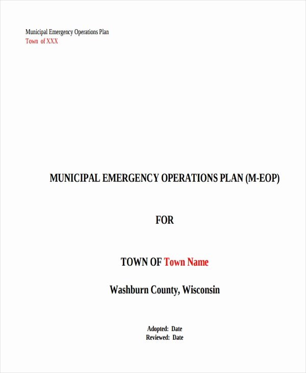 Emergency Operations Plan Template Luxury 8 Emergency Operations Plan Templates Free Sample