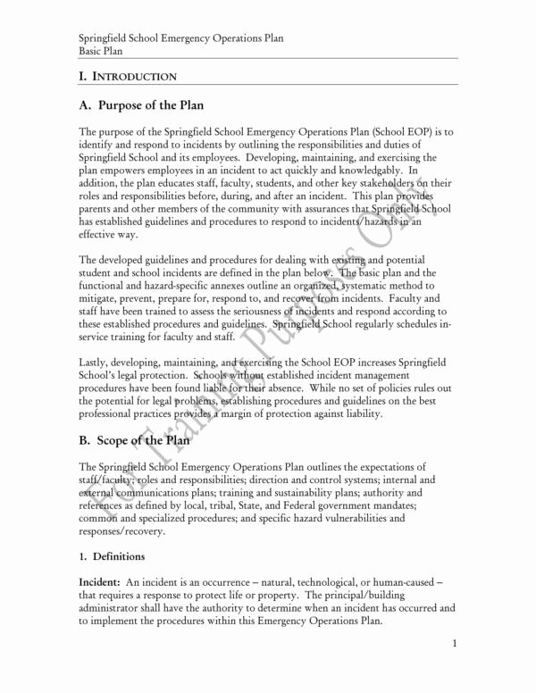 Emergency Operations Plan Template Unique 11 School Operational Plan Samples & Templates – Pdf