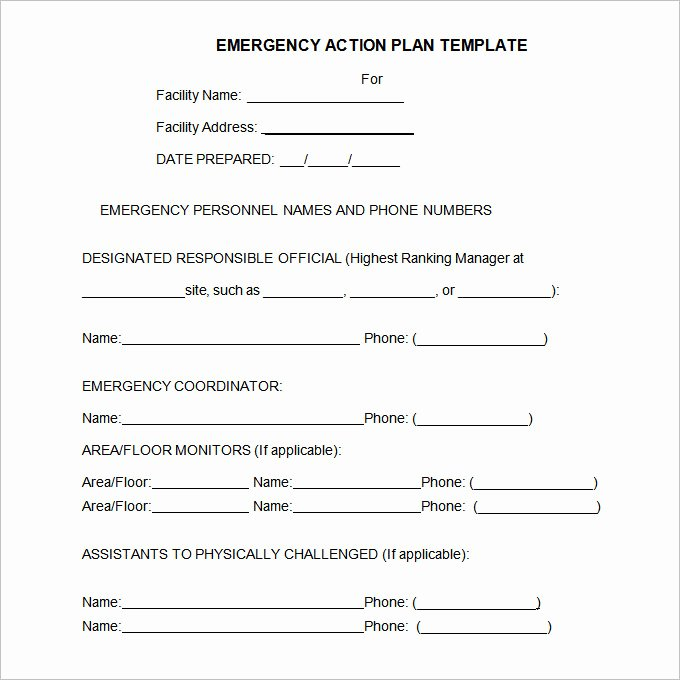 Emergency Response Plan Template Awesome 14 Emergency Action Plan Template Word Excel Pdf