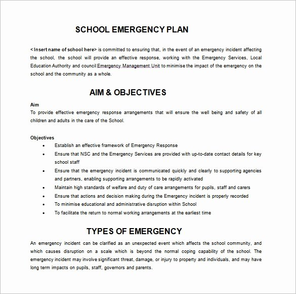 Emergency Response Plan Template Beautiful Emergency Response Plan Template