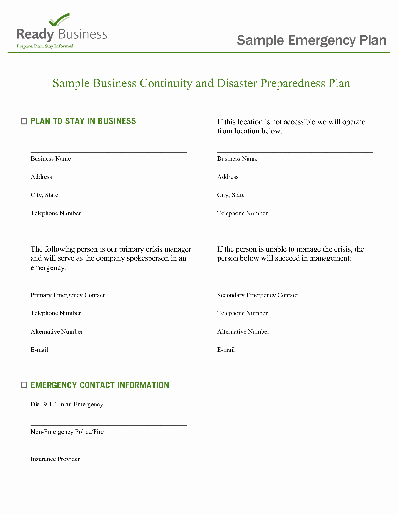 Emergency Response Plan Template Best Of Best S Of Emergency Preparedness Plan Sample