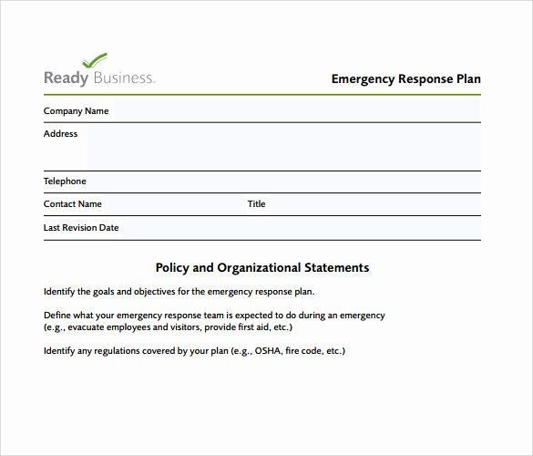 Emergency Response Plan Template Fresh 11 Sample Emergency Action Plan Templates