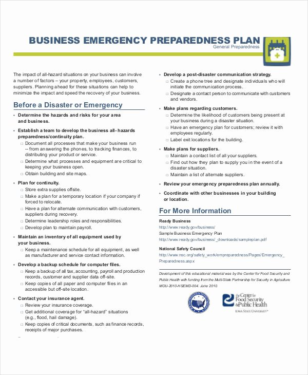 Emergency Response Plan Template Inspirational 29 Emergency Plan Examples Word Google Docs Apple