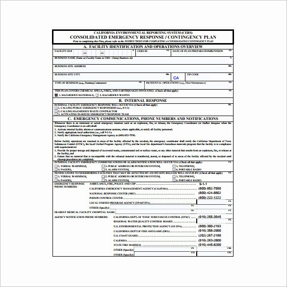 Emergency Response Plan Template Lovely Emergency Response Contingency Plan Template Templates